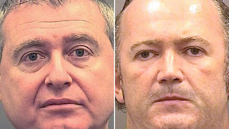 Lev Parnas, left, and Igor Fruman were arrested at Dulles International Airport outside Washington, D.C., on Oct. 9. Credit: Alexandria Sheriff's Office.