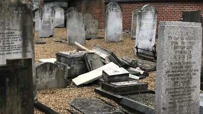 A view of the smashed headstones at the Chatham Memorial Synagogue cemetery near London, October 2019. Source: Twitter via Dalia Halpern.
