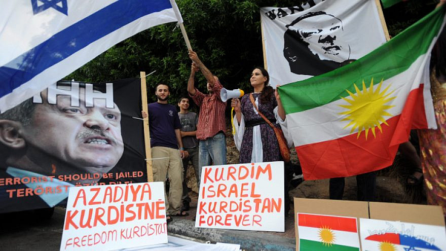 Israelis protest against Turkey's incursion into northern Syria, outside the Turkish Embassy in Tel Aviv, on July 8, 2010. Photo by Gili Yaari/Flash 90.