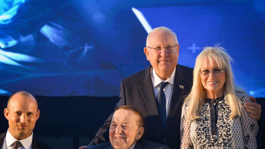 From left: Israeli Education Minister Naftali Bennett, American businessman and investor Sheldon Adelson, his wife Dr. Miriam Adelson and Israel's President Reuven Rivlin at the ceremony for a new Faculty of Medicine at Ariel University in the West Bank, on Aug. 19, 2018. Photo by Ben Dori/Flash90.