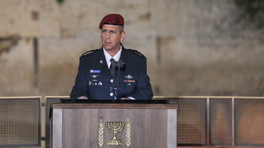 IDF Chief of Staff Aviv Kochavi speaks during the ceremony marking Remembrance Day for Israel's fallen soldiers and victims of terror, at the Western Wall in Jerusalem's Old City, on May 7, 2019. Photo by Noam Revkin Fenton/Flash90.