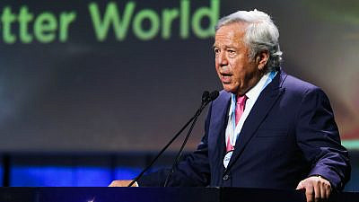 Robert Kraft, winner of the 2019 Genesis Prize seen during the Genesis Prize ceremony, at the Jerusalem theater on June 20, 2019. Credit: Flash90