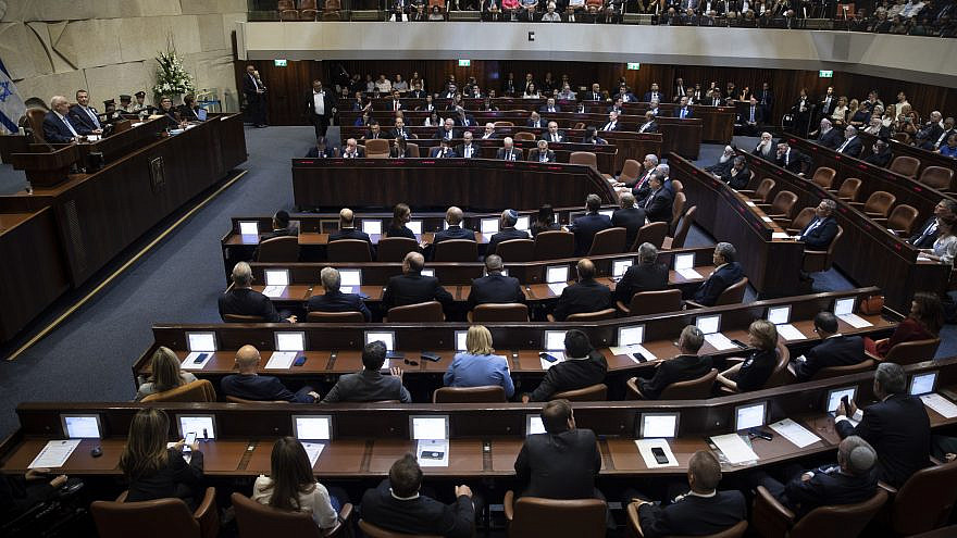 The Knesset plenum hall on the opening of the 22nd Knesset in Jerusalem, Oct. 3, 2019. Photo by Hadas Parush/Flash90.