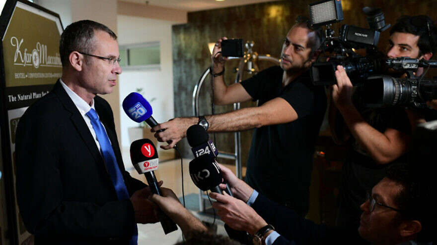 Israeli Tourism Minister Yariv Levin of the Likud Party arrives at a meeting with the Blue and White Party for negotiations after Blue and White leader Benny Gantz was given the mandate to form a government, at the Kfar Maccabiah Hotel in Ramat Gan, on Oct. 27, 2019. Photo by Tomer Neuberg/Flash90.