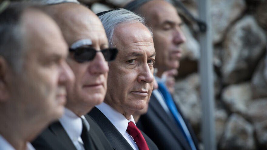 Israeli Prime Minister Benjamin Netanyahu attends a state memorial service at Mount Herzl in Jerusalem commemorating former Israeli tourism minister and IDF general Rehavam Ze'evi, who was murdered in 2001 by a PFLP terrorist, Oct. 29, 2019. Photo by Hadas Parush/Flash90.