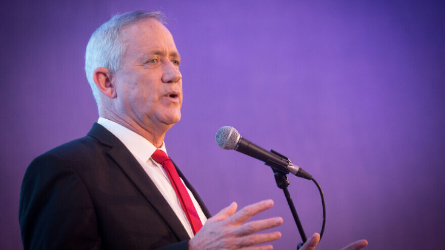 Blue and White party leader Benny Gantz speaks at the annual Jewish Agency Board of Governors' meeting in Jerusalem, on Oct. 28, 2019. Photo by Miriam Alster/Flash90.