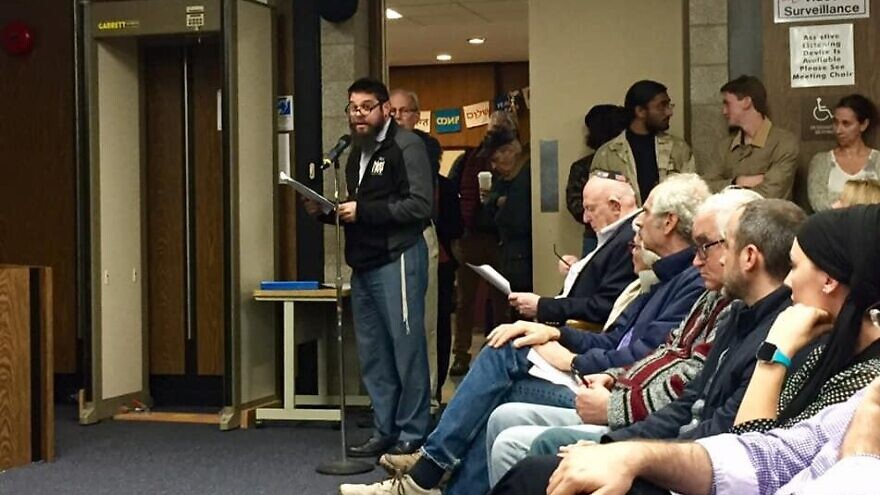 Residents of Highland Park, N.J., line up to share their views at a council meeting on local anti-Semitism and the BDS movement on Oct. 29, 2019. Photo courtesy of Andrew Getraer.