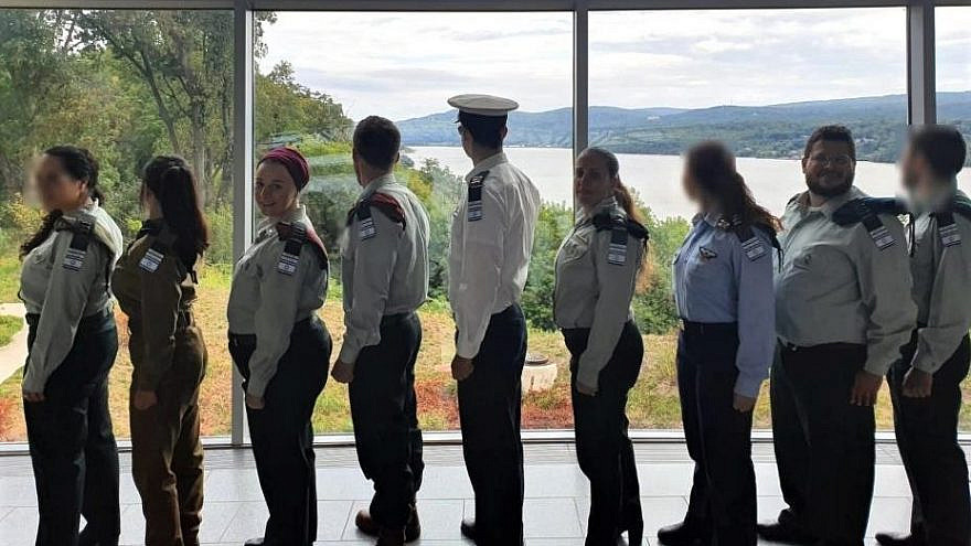 """Eight officers from the Israel Defense Forces traveled to the United States to meet with Birthright Israel North American delegates as part of a program called Mifgash (""""meeting"""" in Hebrew). Here, they visited the United States Military Academy at West Point in New York, September 2019. Credit: IDF Spox."""
