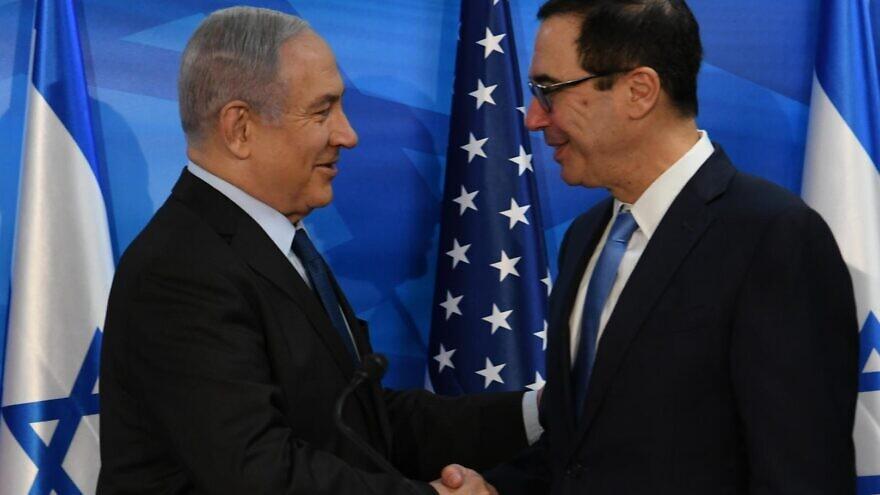 Israeli Prime Minister Benjamin Netanyahu with U.S. Treasury Secretary Steven Mnuchin in Jerusalem on Oct. 28, 2019. Credit: Amos Ben-Gershom/GPO.