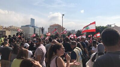 Lebanese protesters in Beirut on Oct. 18, 2019. Credit: Shahen Books via Wikimedia Commons.