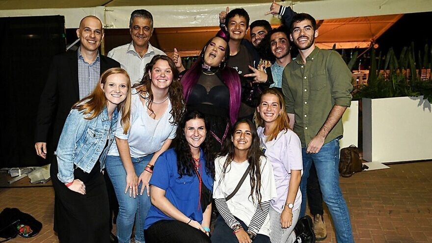2018 Eurovision Song Contest winner Netta Barzilai with participants at an event in Ra'anana celebrating the start of Masa Israel Journey's 2019-20 programming year.Credit: Courtesy of Masa.