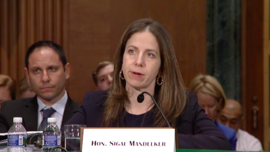 U.S. Under Secretary for Terrorism and Financial Crimes Sigal Mandelker testifies in front of the Senate Banking Committee on Jan. 17, 2018. Source: Screenshot.
