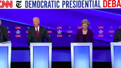 From left: 2020 Democratic presidential candidates Sen. Bernie Sanders of Vermont, former U.S. Vice President Joe Biden, Sen. Elizabeth Warren of Massachusetts and Pete Buttigieg, mayor of South Bend, Ind., at the CNN/New York Times debate in Westerville, Ohio, on Oct. 15, 2019. Source: Screenshot.
