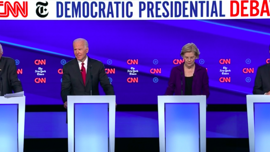 From left: 2020 Democratic presidential candidates Sen. Bernie Sanders of Vermont, former U.S. Vice President Joe Biden, Sen. Elizabeth Warren of Massachusetts and Pete Buttigieg, mayor of South Bend, Ind., at the CNN/New York Times debate in Westerville, Ohio, on Oct. 15, 2019. Source: Screenshot.