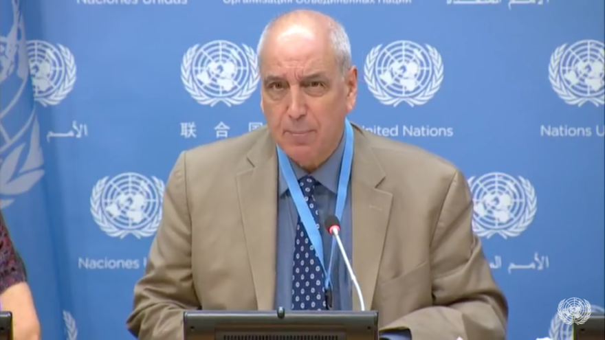 "Michael Lynk, U.N. special rapporteur on the ""situation of human rights in the Palestinian territories occupied since 1967,"" speaks at  a press briefing in October 2018 at the United Nations. Source: Screenshot."