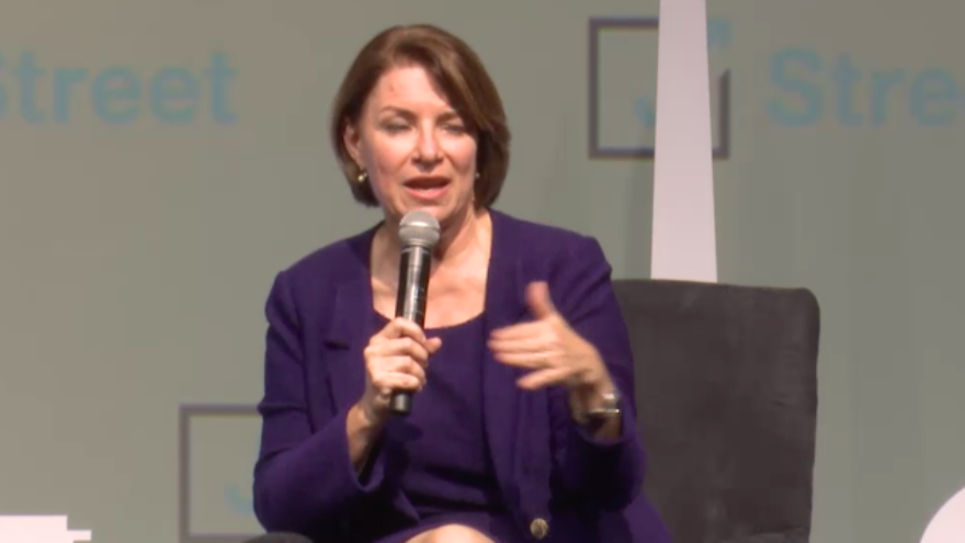 Sen. Amy Klobuchar (D-Minn.), a 2020 Democratic presidential candidate, at the annual J Street Conference in Washington D.C., on Oct. 27, 2019. Source: Screenshot.