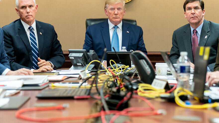 U.S. President Donald Trump is seen with Vice President Mike Pence and Secretary of Defense Mark Esper, Saturday, Oct. 26, 2019, in the White House Situation Room monitoring developments as U.S. Special Operations forces close in on notorious ISIS leader Abu Bakr al-Baghdadi's compound in Syria with a mission to kill or capture the terrorist. Credit: Official White House Photo by Shealah Craighead.
