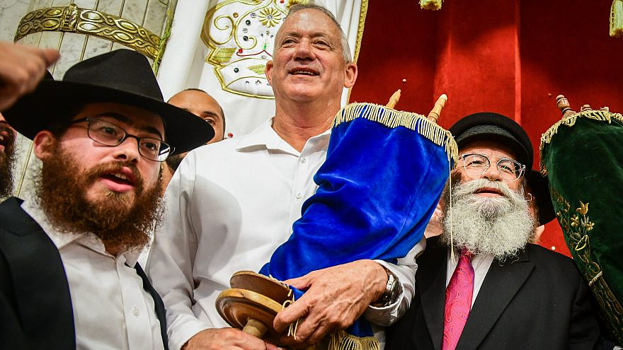 Blue and White Party leader Benny Gantz during Simchat Torah celebrations in Kfar Chabad, Israel, on Oct. 21, 2019. Photo by Yossi Zeliger/Flash90.