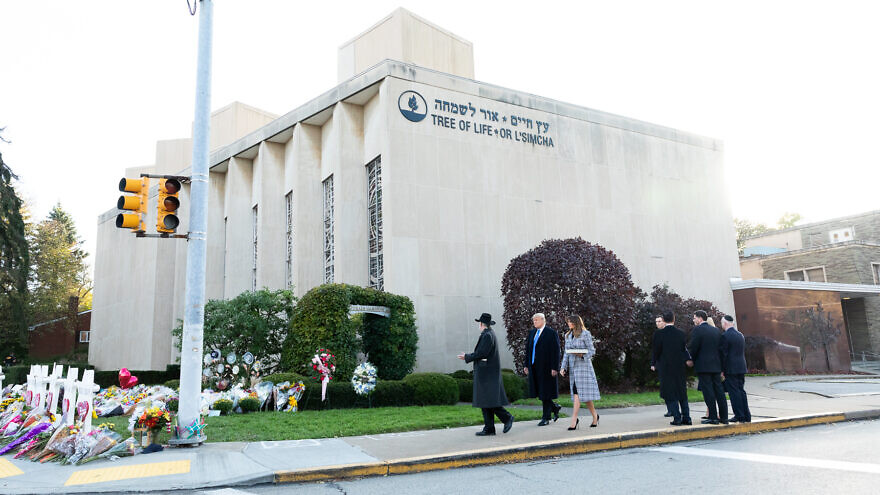 U.S. President Donald Trump and First Lady Melania Trump, along with U.S. and Israeli officials, visited the Tree of Life*Or L'Simcha Synagogue shortly after the mas shooting on Oct. 27, 2018. Credit: Wikimedia Commons.