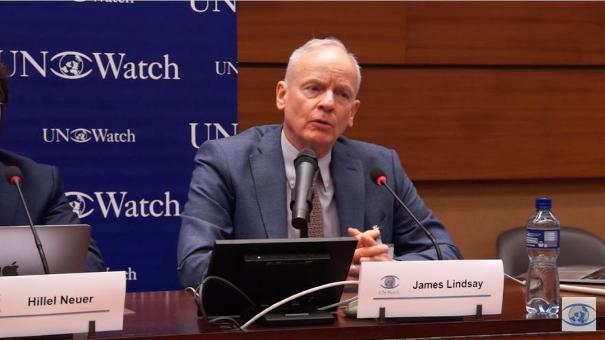 Former UNRWA general counsel James Lindsay speaks on a U.N. Watch-sponsored panel in Geneva on Sept. 23, 2019. Source: Screenshot.