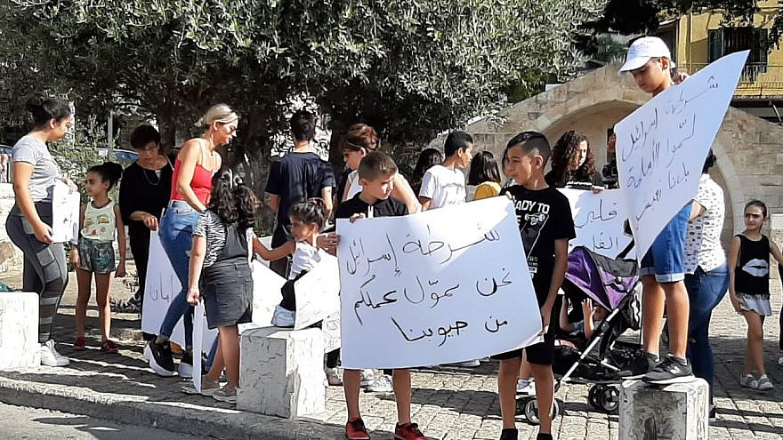 Israeli-Arab students participate in a countrywide strike, protest the skyrocketing crime rate in Arab communities, Oct. 3, 2019. Credit: Mossawa Center.