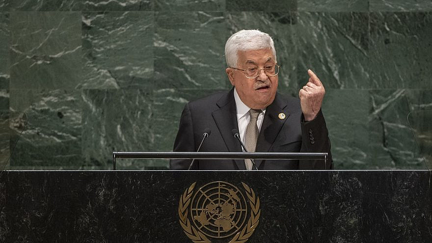 Israeli Palestinian Authority leader Mahmoud Abbas addressing the United Nations General Assembly on Sept. 26, 2019. Credit: UN Photo/Cia Pak.