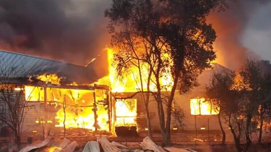 A view of a home burning in the Kincade Fire in Northern California, October 2019. Source: Screenshot.