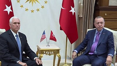 U.S. Vice President Mike Pence and Turkish President Recep Tayyip Erdogan meeting in Ankara on Oct. 17, 2019. Source: Screenshot.