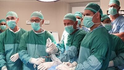 Israeli surgeons perform the artificial meniscus implant on Nov. 11, 2019. Credit: Active Implants LLC.