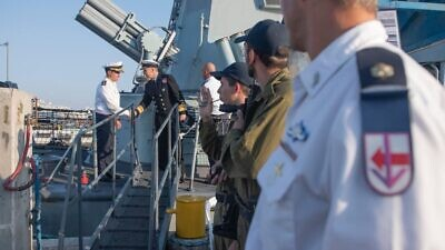 NATO and Israeli naval officials greet one another aboard an Israeli Navy ship. Credit: IDF Spokesperson's Unit.