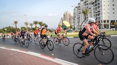"""Cyclists participating in the 2018 """"Israel Ride."""" Source: Facebook."""