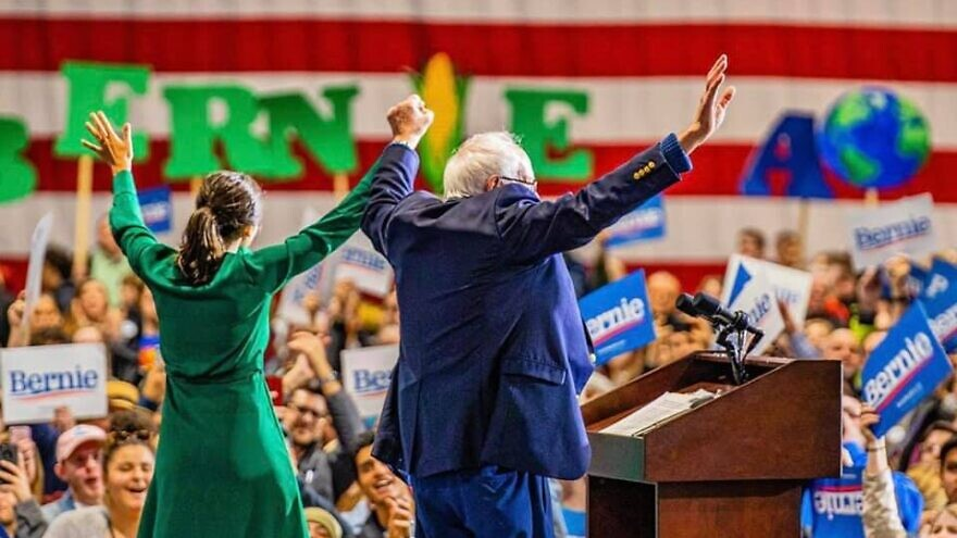 Democratic presidential candidate Sen. Bernie Sanders (I-Vt.) with Rep. Alexandria Ocasio-Cortez at a campaign rally in Iowa on Nov. 10, 2019. Source: Facebook.