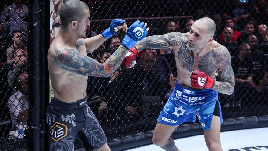 Israeli mixed martial-arts fighter Haim Gozali goes head to head against Arsen Faitovich. Credit: Courtesy.