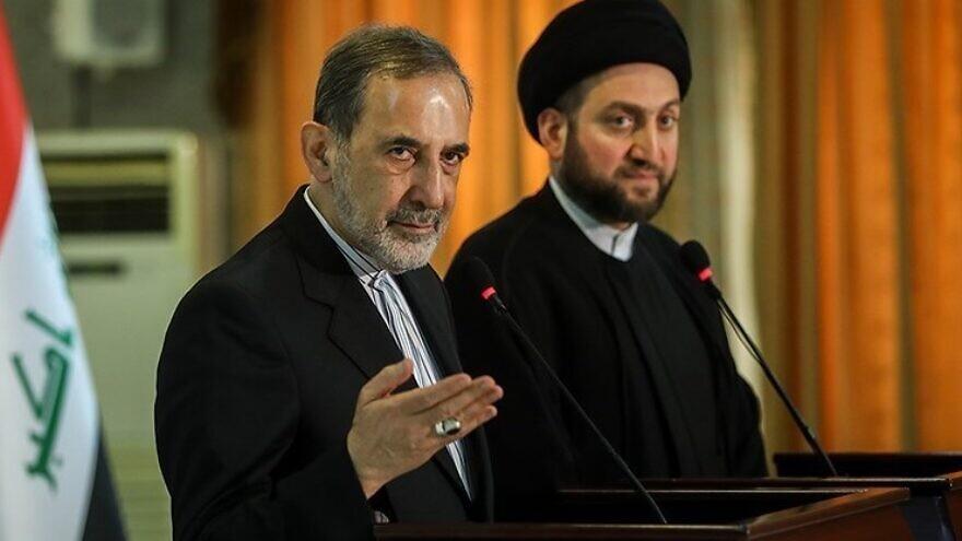 Alí Akbar Velayati (left) appearing at a press conference. Source: Wikimedia Commons.