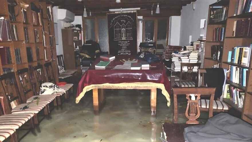 Floodwaters in Venice, Italy, rose to 74 inches, seeping into homes and buildings, including Chabad of Venice and its synagogue. Since then, water has continued to rise in the sanctuary, damaging holy books and other items, November 2019. Credit: Chabad.org/News.