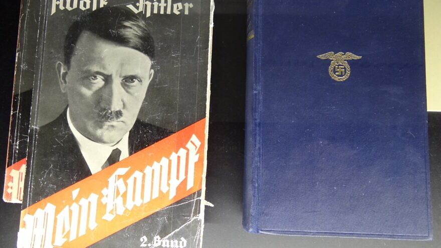 "A display of copies of Adolf Hitler's ""Mein Kampf."" Source: Wikimedia Commons."