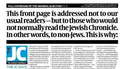 A U.K. Jewish Chronicle editorial urging non-Jews to not vote for Labour Party leader Jeremy Corbyn. Source: Screenshot.