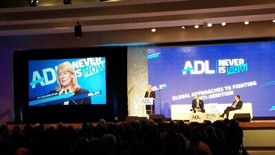"Former British Parliament member Joan Ryan addresses the Anti-Defamation League's ""Never Is Now"" summit. Source: Joan Ryan via Twitter."