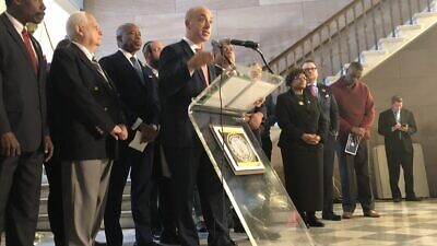 """Anti-Defamation League CEO Jonathan Greenblatt announcing an expansion for the """"No Place for Hate Peer to Peer Program"""" in Brooklyn to combat rising anti-Semitism. Source: Anti-Defamation League via Twitter."""
