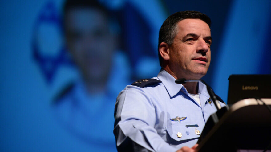 Israel Air Force Commander Maj. Gen. Amikam Norkin speaks at the Israel Aviation Conference on May 2, 2018. Photo by Tomer Neuberg/Flash90.