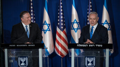 Israeli Prime Minister Benjamin Netanyahu and U.S. Secretary of State Mike Pompeo deliver joint statements in Jerusalem on March 20, 2019. Photo by Hadas Parush/Flash90.