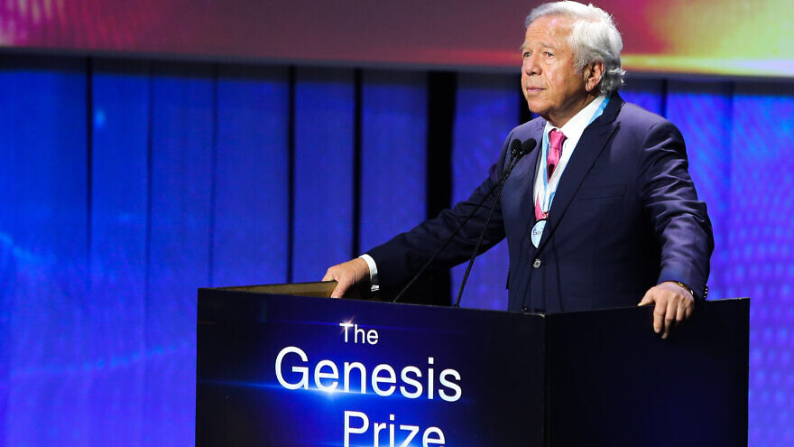 New England Patriots owner and Jewish philanthropist Robert Kraft, winner of the 2019 Genesis Prize, at the awards ceremony in Jerusalem, June 20, 2019. Photo by Flash90.