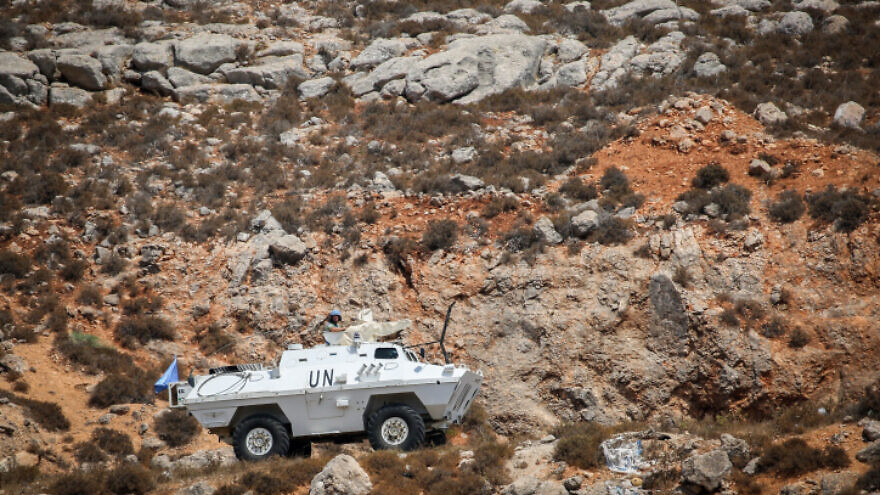 U.N. peacekeepers (UNIFIL) patrol the border between Israel and Lebanon on Aug. 27, 2019. Photo by David Cohen/Flash90.