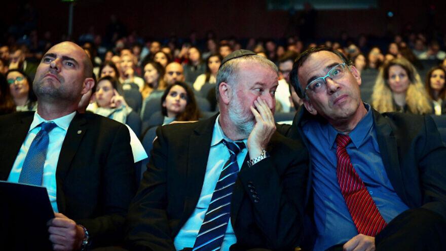 Israeli Attorney General Avichai Mandelblit (center), Justice Minister Amir Ochana (left) and State Prosecutor Shai Nitzan attend a conference in Tel Aviv on Nov. 4, 2019. Photo by Flash90.