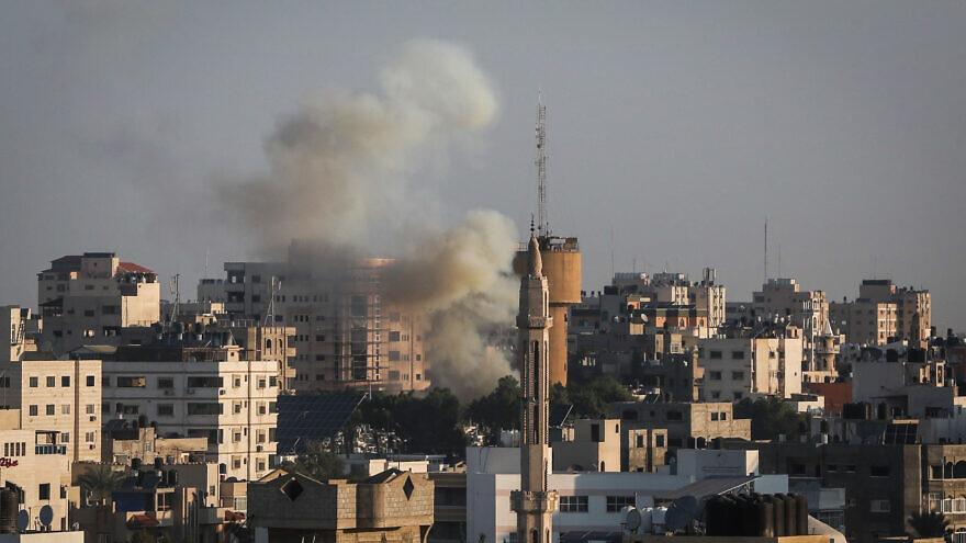 Rockets are fired from Gaza towards Israel following the targeted killing of Palestinian Islamic Jihad field commander Baha Abu al-Ata by Israel on Nov. 12, 2019. Photo by Hassan Jedi/Flash90.