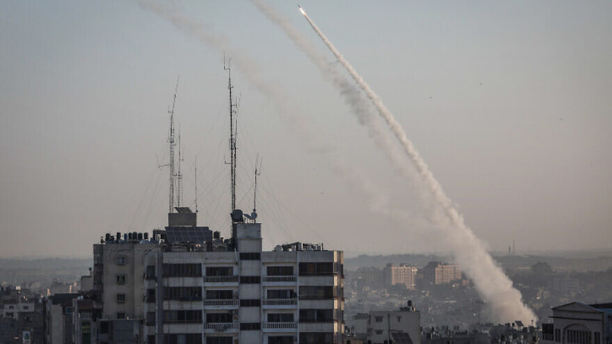 Rockets fired from the Gaza Strip into Israel followed the targeted killing of Palestinian Islamic Jihad field commander Baha Abu Al-Ata by an Israeli airstrike on Nov. 12, 2019. Photo by Hassan Jedi/Flash90.