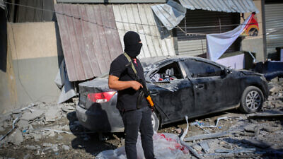 The home of Palestinian Islamic Jihad field commander Baha Abu al-Ata after it was hit overnight by an Israeli airstrike in Gaza City on Nov. 12, 2019. Photo by Hassan Jedi/Flash90.