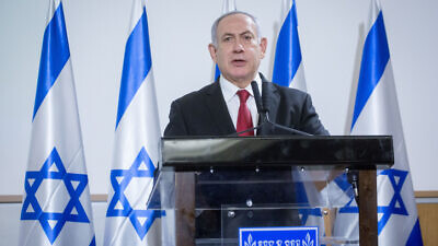 Israeli Prime Minister Benjamin Netanyahu delivers a statement to the press after a security cabinet meeting following the escalation of violence in with the Gaza Strip, in Tel Aviv on Nov. 12, 2019. Photo by Miriam Alster/Flash90.