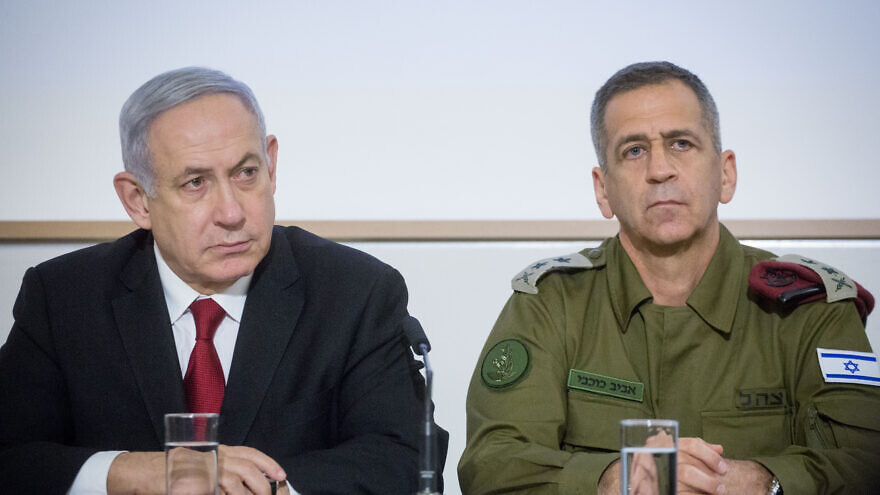 Prime Minister Benjamin Netanyahu and IDF Chief of Staff Aviv Kochavi at a press conference after a security cabinet meeting following the escalation of violence in with the Gaza Strip, at the Kirya headquarters in Tel Aviv, on November 12, 2019.Photo by Miriam Alster/Flash90