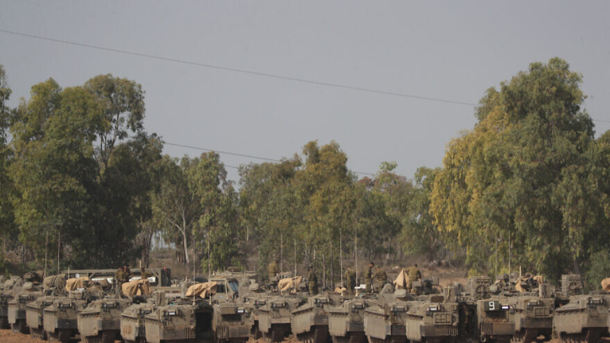 Israeli armored vehicles at a staging area in southern Israel near the border with the Gaza Strip on Nov. 13, 2019. Photo by Yonatan Sindel/Flash90.